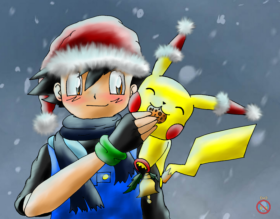 Ash and pikachu christmas by shadowhatesomochao on - Ash and pikachu wallpaper ...