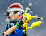 Ash and Pikachu - Christmas