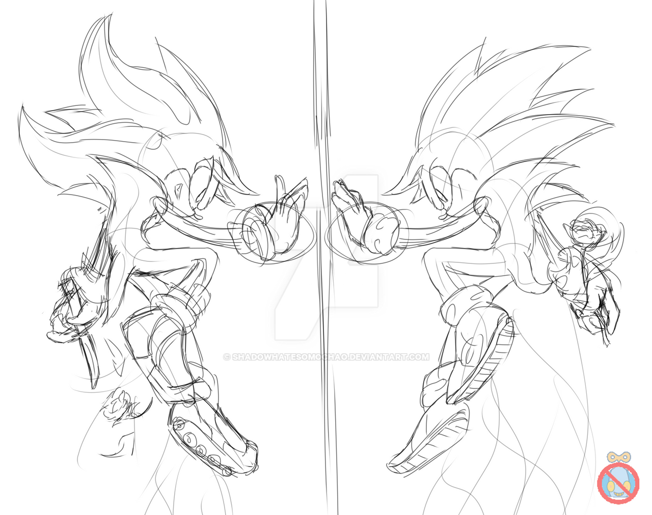 Sonic and Shadow sketch by shadowhatesomochao on DeviantArt