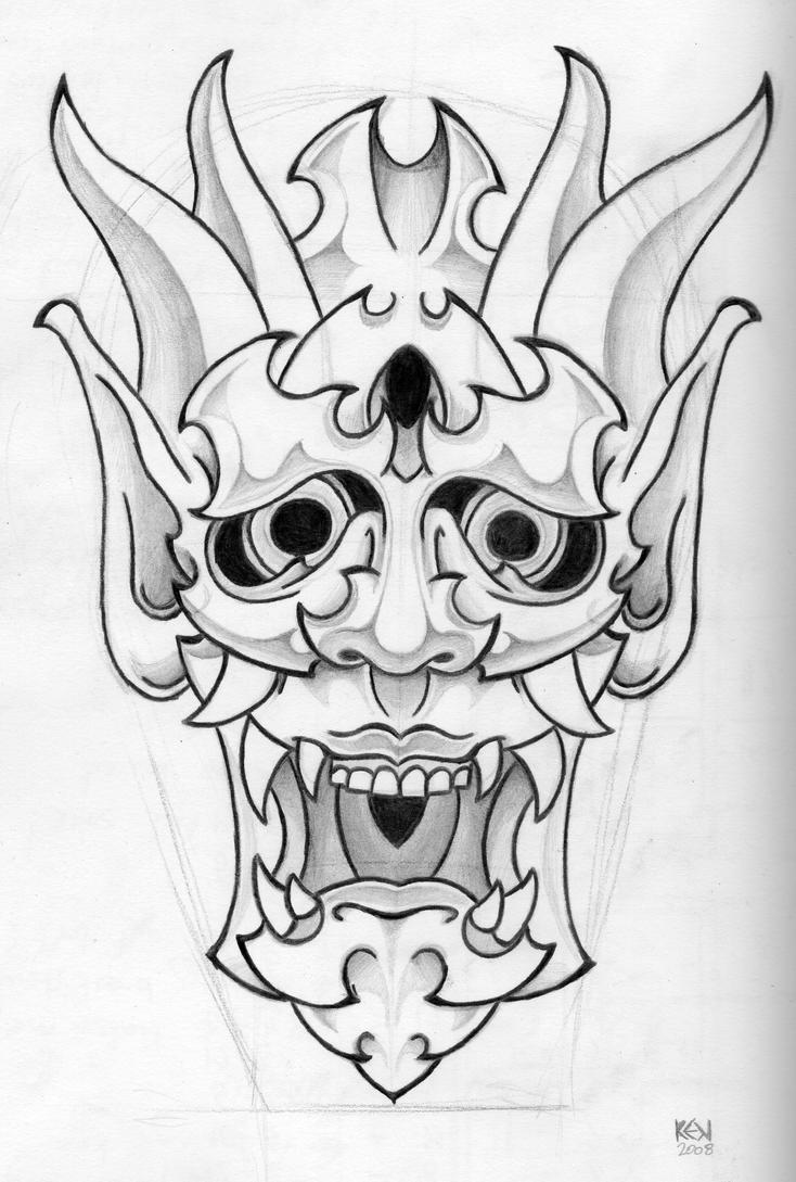 Japanese Mask Tattoo design by funkt-green on DeviantArt