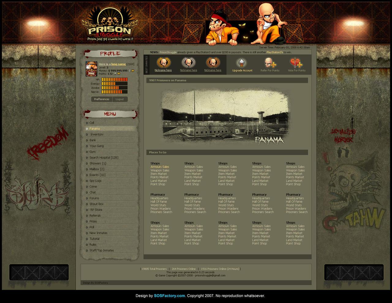 Web design: Prissonstrugle by SOSFactory