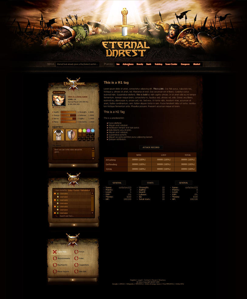 MMORPG design: Eternal Unrest by SOSFactory