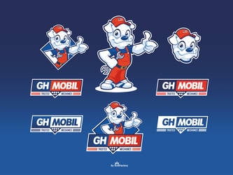 GH Mobil Cartoon logo and mascot design