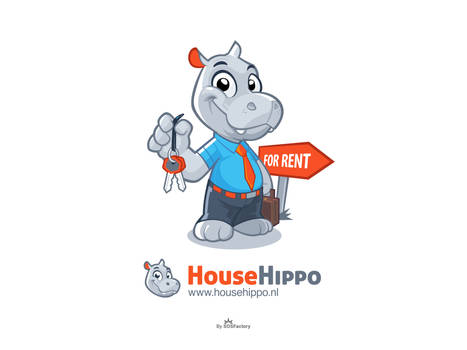 House Hippo Mascot logo