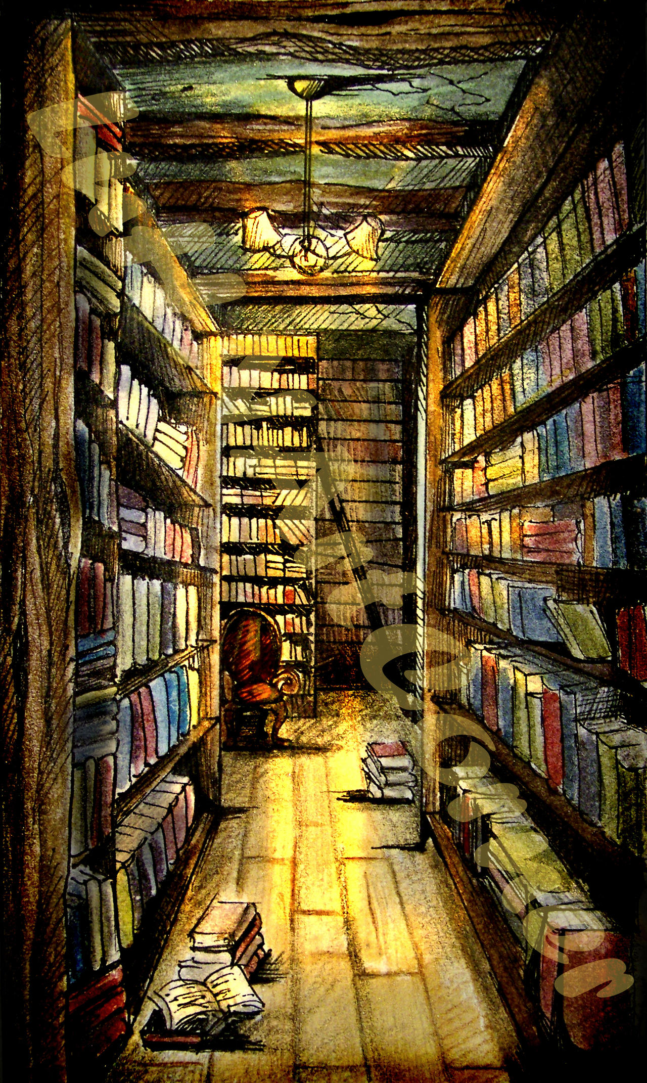 Library Illustration by LourdesHN on DeviantArt