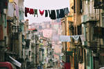Street, houses, the clothes lines