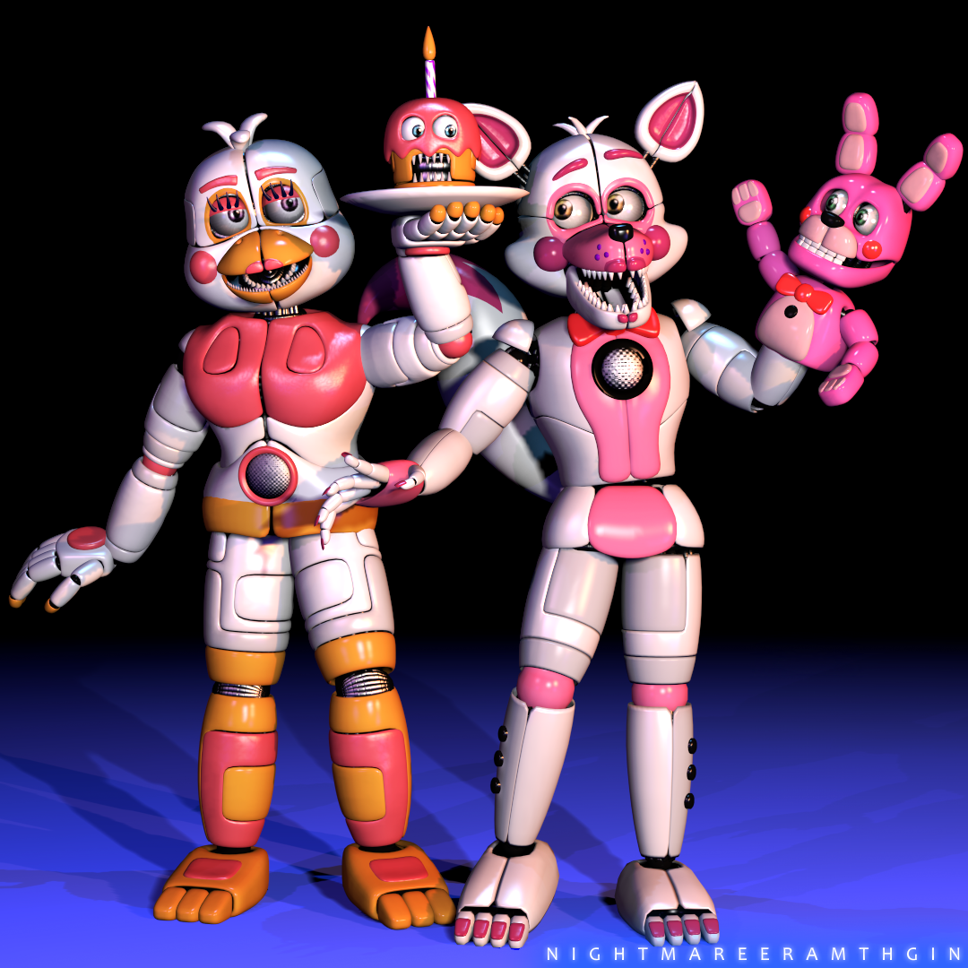 [SFM/FNAFSL] F. Foxy W/ Bonnet And F. Chica Render By