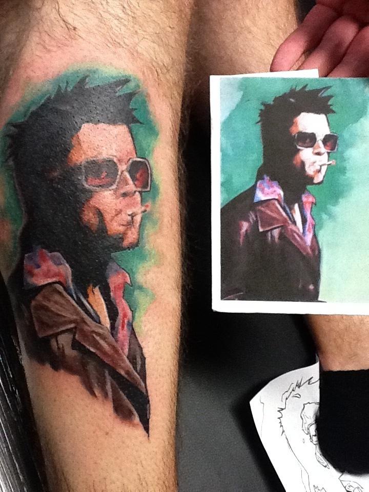 Fight Club Brad Pitt Tyler Duden Portrait Tattoo By Zeek911