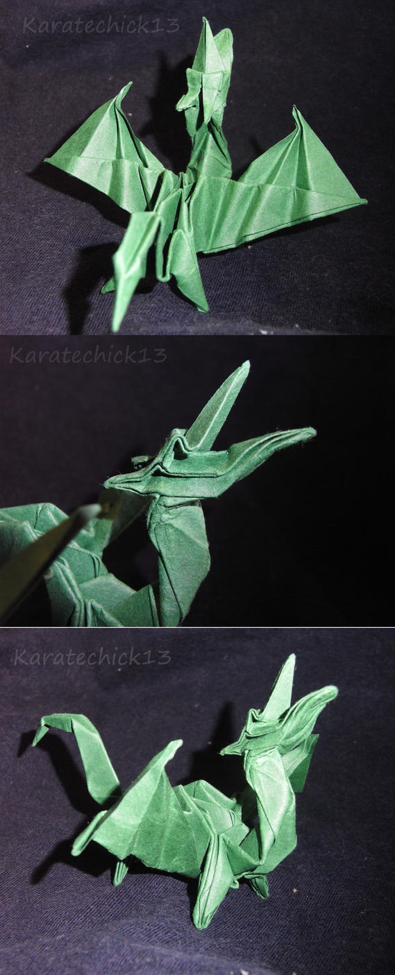 Green Origami Dragon by karatechick13
