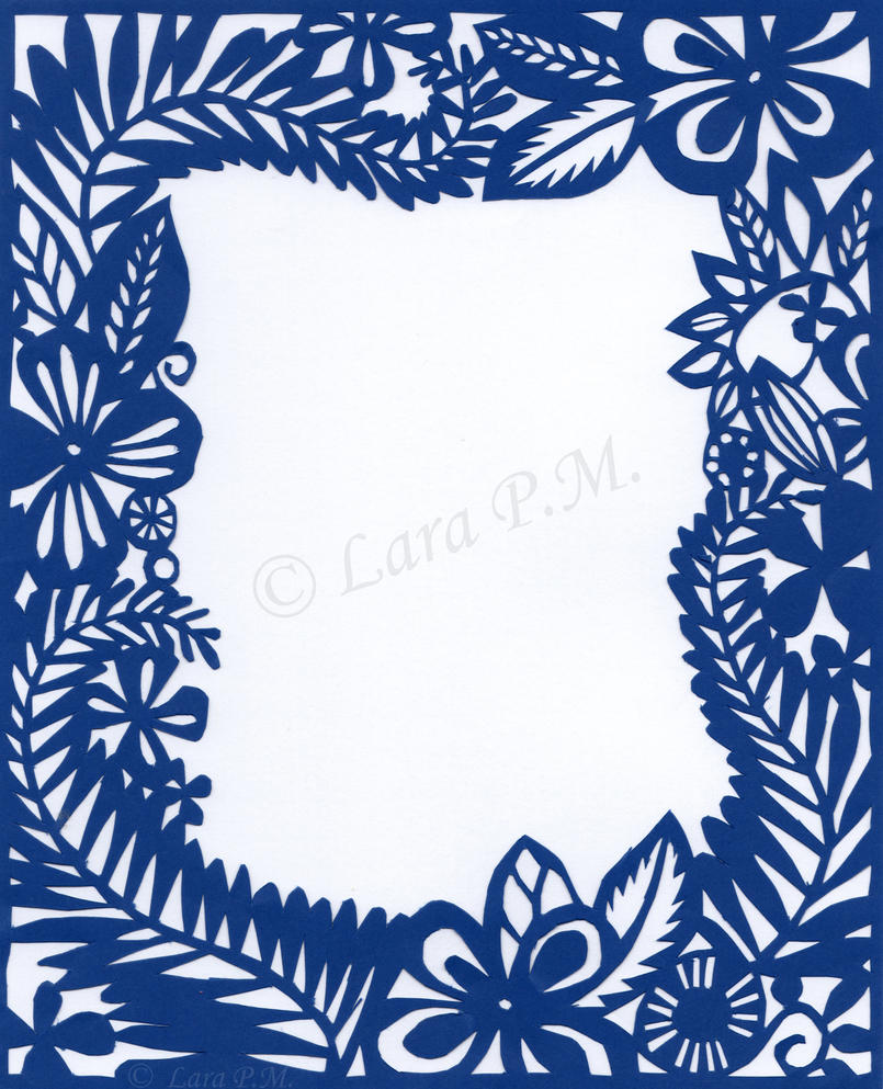 Papercutting floral border by karatechick13 on deviantart for Paper border designs