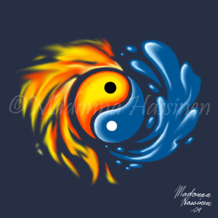 Yin And Yang Water And Fire 2 By Colorfulartist86 On Deviantart