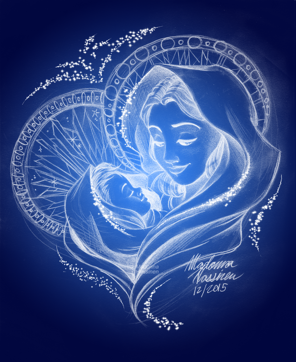 virgin mary and baby jesus drawing christmas 2015 by