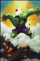 Hulk vs Wolverine end battle by logicfun