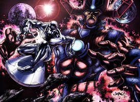 Silver Surfer and Galactus by logicfun