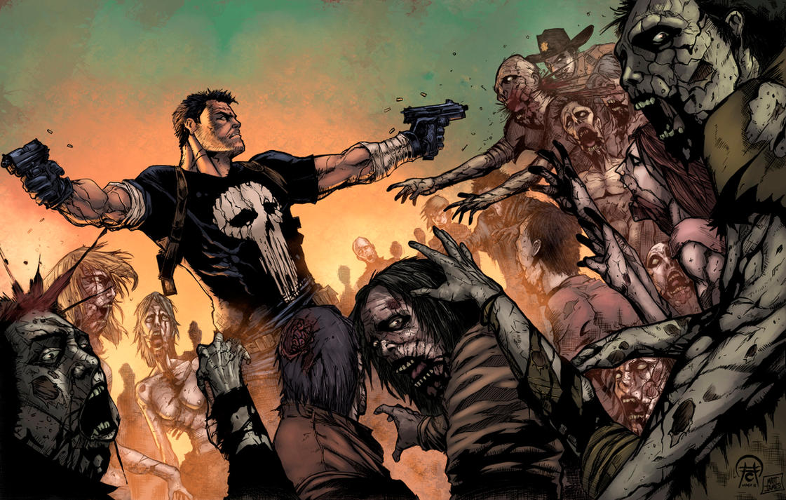 Frank Castle Vs The Walking Dead Color by logicfun