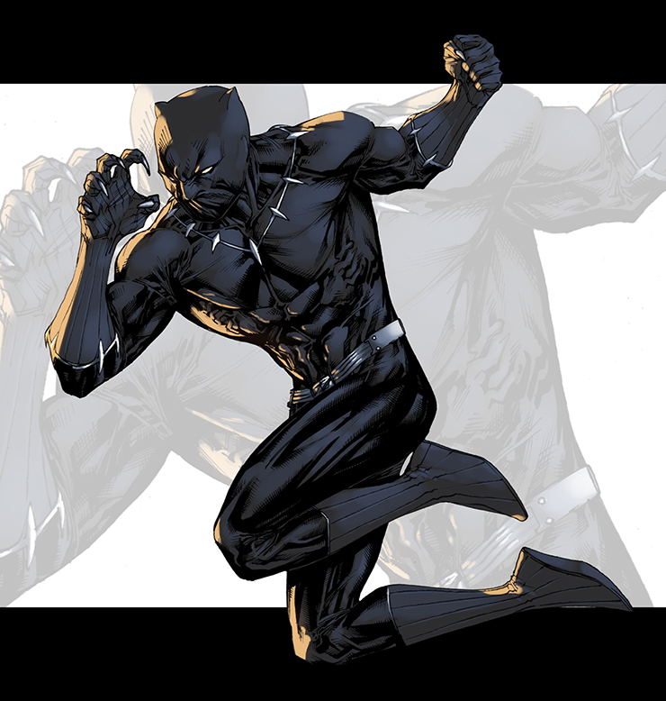 Fighting Black Panther Color by