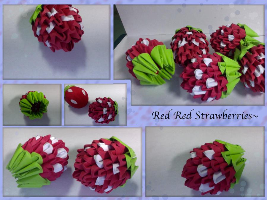 3D StrawBerry Origami By XxXmarshmellowXxX