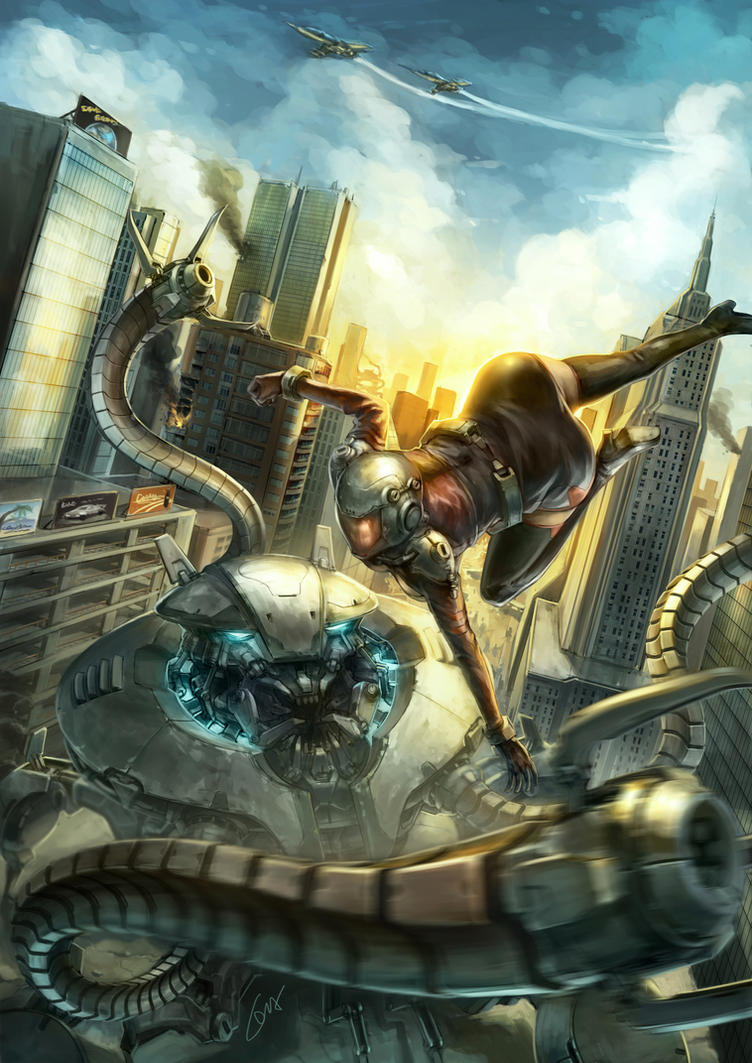 Battle with Giant Alien Crawler Bot by ichitakaseto