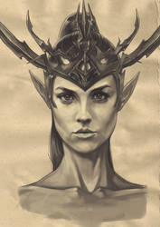 Witch elf face 1 by akurepki2