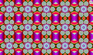 JLF1959bis Psychedelic Tiles of Flowers on Purple