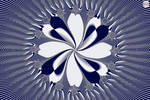 JLF2923 Blue and White Stylized Flowah