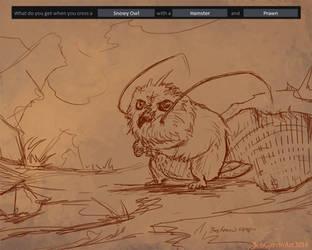 05-25-14 Snowy Owl-Hamster-Prawn by BobGarvinArt