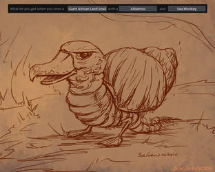 06-04-14 Giant Land Snail-Albatross-Sea Monkey by BobGarvinArt