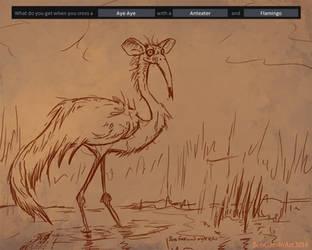 07-22-14 Aye Aye-Anteater-Flamingo by BobGarvinArt