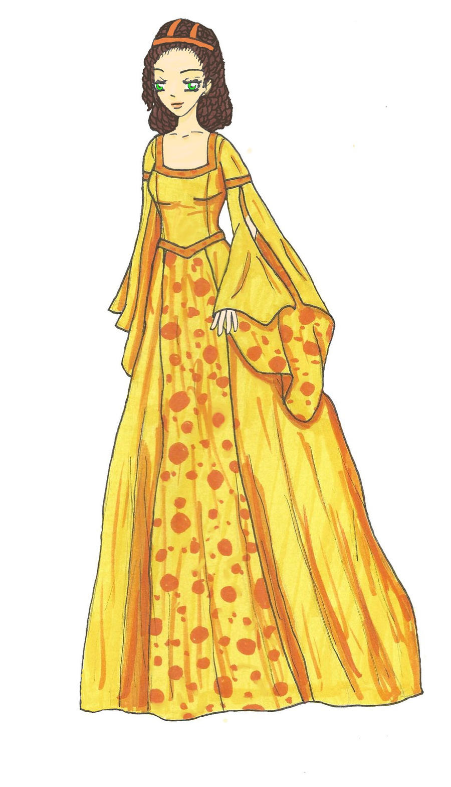 Old Fashioned Style Orange Dress By Bryony Chan On Deviantart