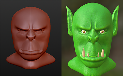 Orc head attempt... by MadHatDragon