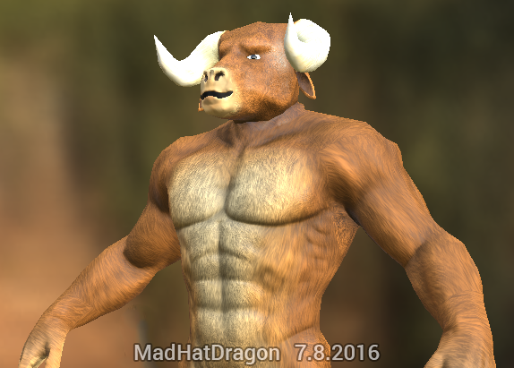 Minotaur - Re-texture - PG rated by MadHatDragon