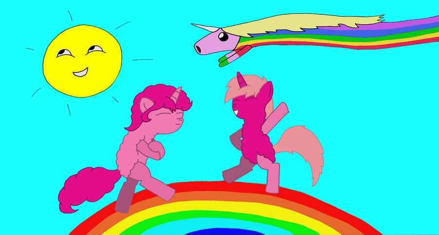 how to draw pink fluffy unicorns dancing on rainbows