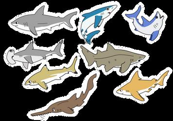Shark chibis by thelimeofdoom