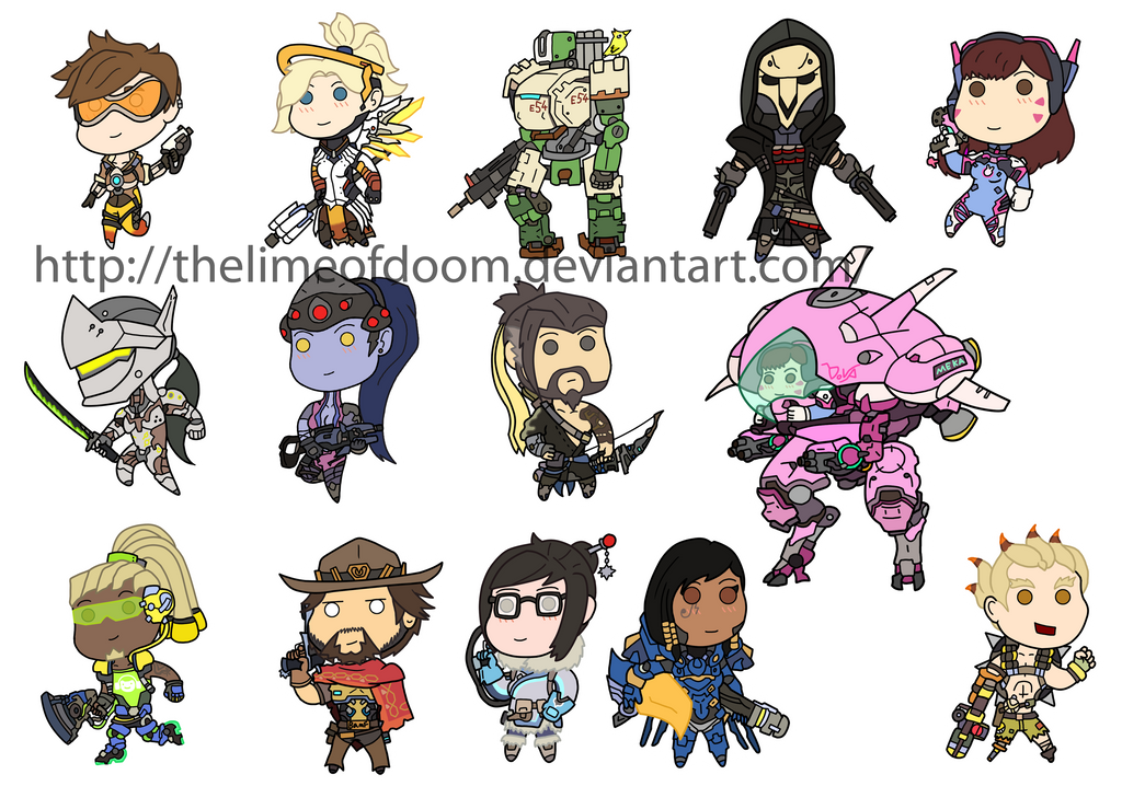 Overwatch chibis by thelimeofdoom