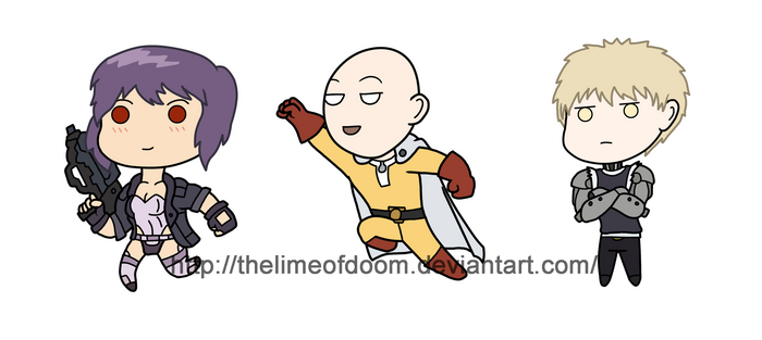 GITS and One Punch man chibis