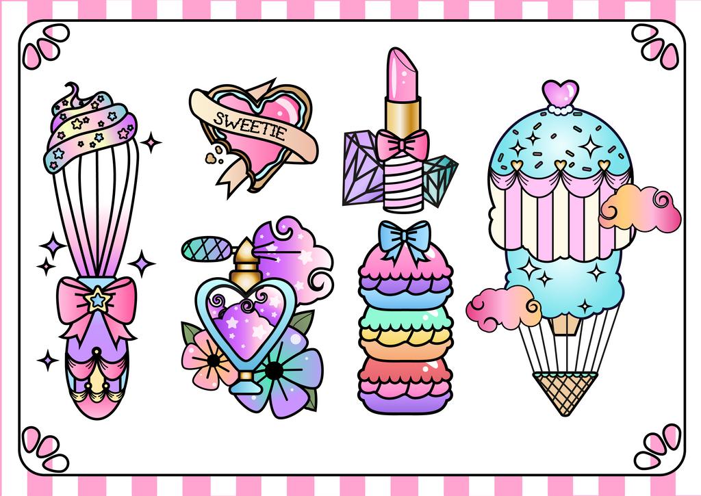 Cool design - Tattoo Flash | Girly art, Cupcake tattoos ...  |Cool Drawings Flash Girly