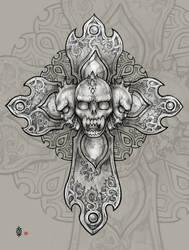 Demon's skull cross