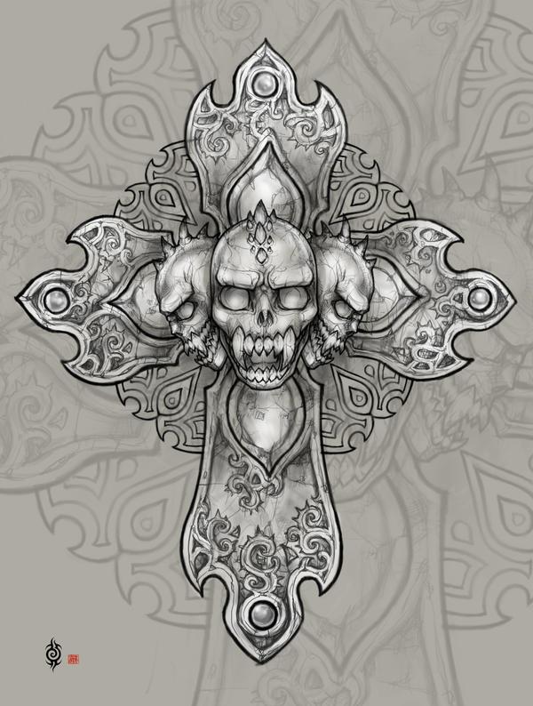 Demon's skull cross by AngELofREbellion on DeviantArt Skull And Cross Drawing