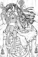 Riin of Swords: lineart by AngELofREbellion