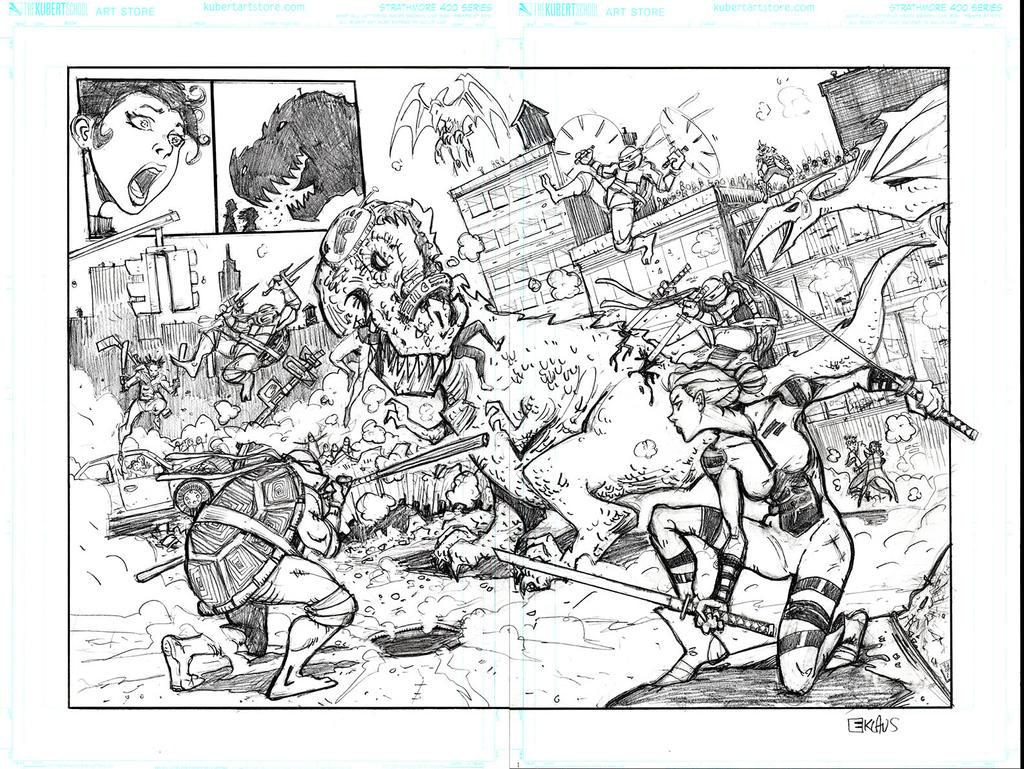 Ninja Turtles Double Page Spread by interstateninja