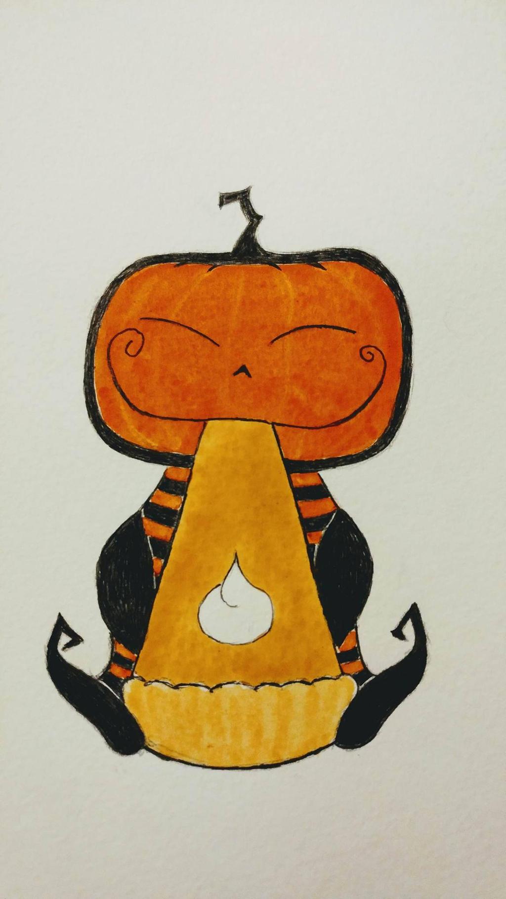 Pum'kin guy eating pumpkin pie! by KittenConcoctions