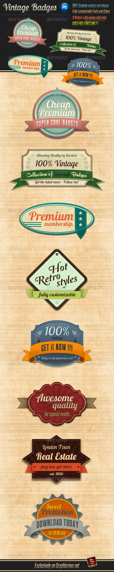 Retro Vintage Badges by survivorcz