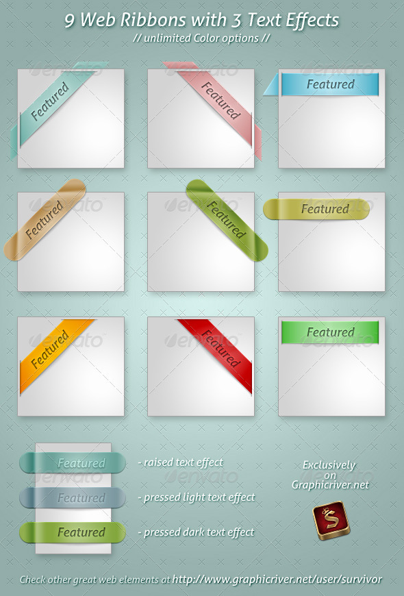 Clean Web ribbons PSD by survivorcz