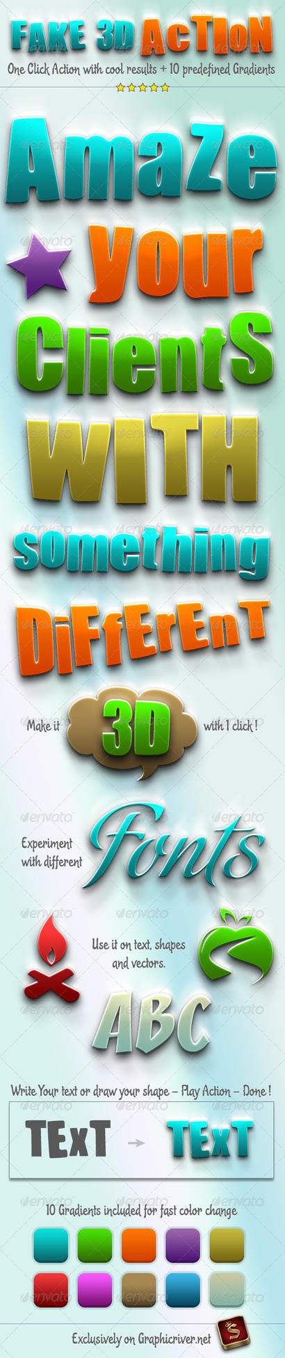 Fake 3D - Photoshop Action ATN by survivorcz