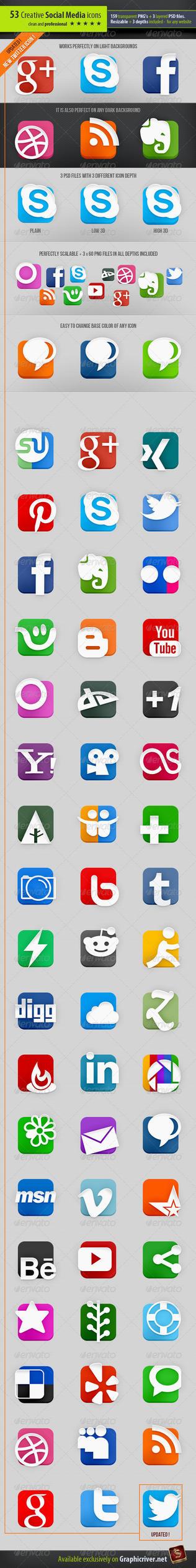 53 Social Media Icons - Creative edition by survivorcz