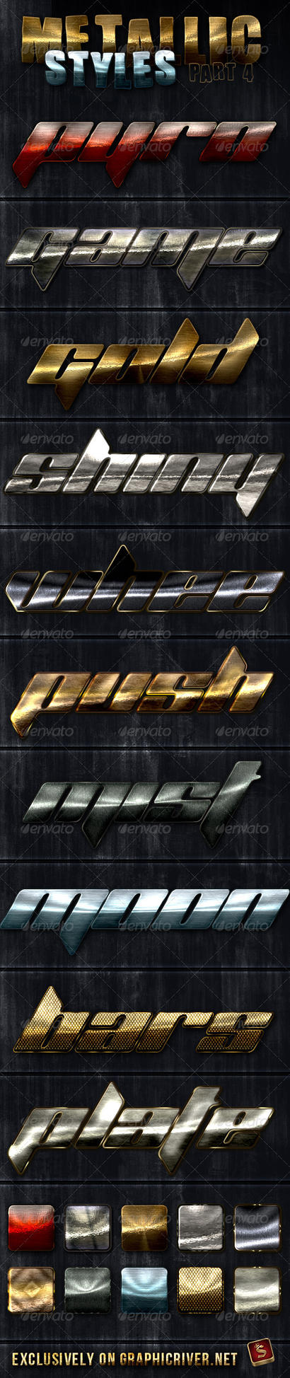 Metallic Photoshop Styles - Part 4 by survivorcz