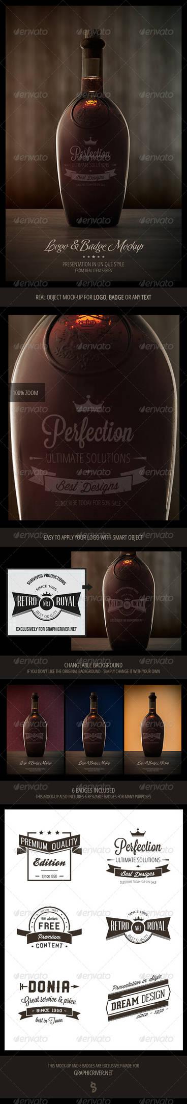 Old Bottle - Logo Mock-up and 6 Retro Badges