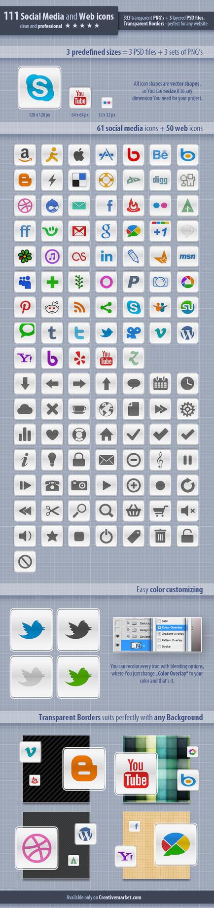 111 Social Meda and Web Icons by survivorcz