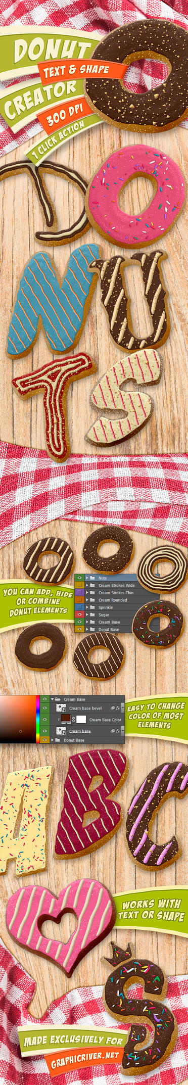 Donut Creator - Text and Shape Photoshop Action by survivorcz