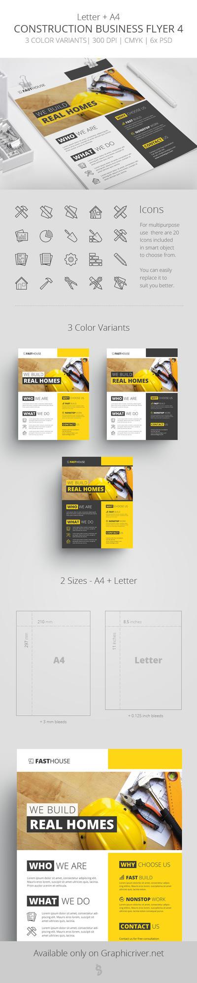Construction Business Flyer 4 - Letter + A4 by survivorcz